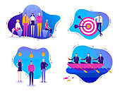 Vector set of business illustrations. Successful teamwork, international creative team, successful business, partnership. Trendy flat style, characters