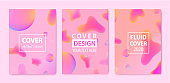 Vector set of abstract fluid creative templates, cards, color covers set. Geometric design, liquids, shapes. Pastel and neon design, geometric fluid graphic shape