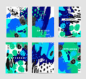Vector set of artistic creative cards. Use for Wedding, anniversary, birthday, party, special event.