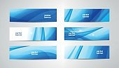 Vector abstract flow wavy banners set. Water, stream, energy stream horizontal backgrounds. Wave Liquid, transparent, gradient headers
