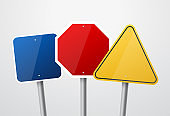 Road signs. Vector red, green and yellow empty road sign mock up with place for text or symbol