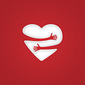 Red heart with hand embrace. Vector illustration