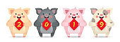 2019 chinese new year - cartoon pigs with chinese couplet of 2019