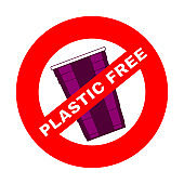Prohibition or ban sign. Plastic Free concept, stop using plastic vector illustration