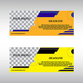 Facebook Cover Web Banner Social Media. Yellow and orange banner set