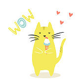 Funny cat eating ice cream. Funny illustration with lettering text. Isolated scandinavian cartoon