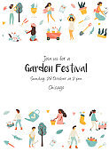Garden festival invitation template with tiny farmers. Festival poster and banner colorful design