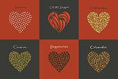 Set of spices in the heart shape. Sesame, Cumin, Cardamom, Chili, Peppercorns, Coriander