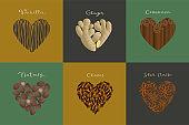 Set of spices in the heart shape. Vanilla, Ginger, Cinnamon, Nutmeg, Clove, Star Anise.