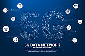 5G mobile networking from dot and line circuit board graphic style.