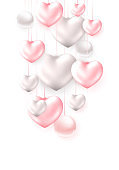 Happy Valentines Day holidays poster with 3d metall shiny colorful Hearts and pearls.
