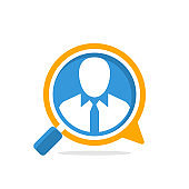 Vector illustration icon with media communication and review concept, for employee recruitment information access
