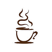 a cup of coffee logo Design vector illustrations