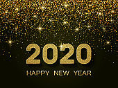 2020 Happy New Year. New Year 2020 greeting card. Background with golden numbers and glitter.