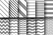 Set of seamless vector patterns of horizontal and diagonal stripes, chevron and wave lines. Design for wallpaper, fabric, textile, wrapping. Simple background