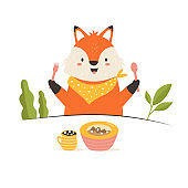 Funny little fox having a breakfast. Vector illustration. Animal character design. Baby print isolated on white background