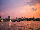 CityScape of Bangkok City and Chao Phraya River with Beautiful Sunset in Bangkok City Thailand