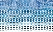 Abstract polygon blue and white graphic triangle pattern.