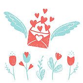 Valentine's day clip art. Envelope with wings and hearts, flowers, love postcard with letters. Vector illustration