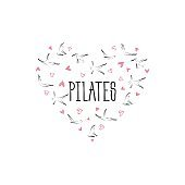 Pilates poses in shape of a heart. Ideal for greeting cards, wall decor, textile design and much more.