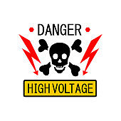Danger symbol High Voltage Sign Vector skull. Lightning electricity warning template illustration