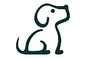 abstract cute dog icon concept
