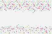 Confetti isolated. Falling confetti, birthday vector illustration.Celebration tape.Disco christmas background.