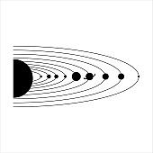 black and white solar system vector illustration graphic design