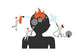 Brain disease treatment abstract flat illustration