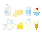 Set of different dairy products in a flat style.