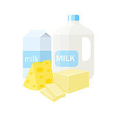 Dairy products vector illustration isolated on white background.