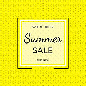 Summer sale banner. Summer Sale phrase on yellow background.