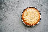 Apple pie on gray light background
