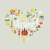Abstract emblem with Ukrainian landmarks, symbols, characters, buildings, food. Vector design in a flat style for print.