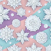 Vector cover with Papercut Snowflakes. Layered realistic snow flake winter 3D icons. Xmas, New Year header, business greeting card, invitation, article