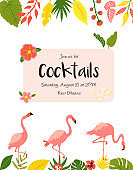 Trendy summer tropical banners with leaves and flamingos for invitations, greeting cards. Aloha, hawaiian, cocktail party