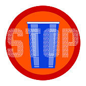 Plastic free concept vector illustration with blue disposable plastic cup and the word Stop