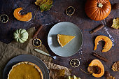 Pumpkin pie with cinnamon and vanilla on a plate.