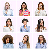 Collage of young women over pink isolated background touching mouth with hand with painful expression because of toothache or dental illness on teeth. Dentist concept.