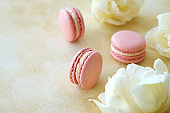 Beautiful composition with colorful macaroon cookies.