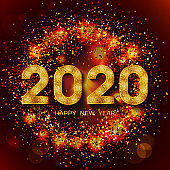 2020 Happy New Year. New Year 2020 greeting card. Dark Background with golden numbers and colorful confetti.