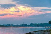 summer twilight seascape from the lagoon beach in Bibione, Italy