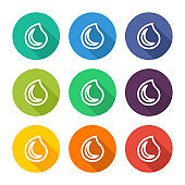 Illustration icon for liquid droplets with several color alternatives