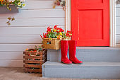 Farmer red boots placed on wooden stairs. lifestyle colorful flowers, house entrance with red door and red rain boots. Spring fashion, autumn shoes.Red Rubber Garden boots. Protection shoes, Waterproof footwear.