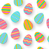 Seamless pattern of Easter Egg Paper cut. Cute layered Eggs Hunt greeting card isolated on white. Geometric holidays colorful backdrop. Festive frame, wrap, sale, article, add.