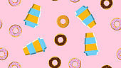 Seamless pattern, texture of different round sweet tasty hot donuts with sugar in caramel chocolate and a cup of hot, fast strong take-out coffee on a pink background. Vector illustration
