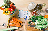 Healthy vegan and vegetarian food. Fresh Vegetables on Wooden Background. Healthy Food. Vegetarian food, Organic Food. Vegetables on wooden table from above. Diet eating concept. Panorama. Banner