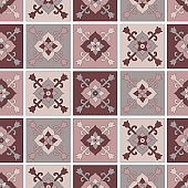 Seamless pattern of tiles with Oriental ornament
