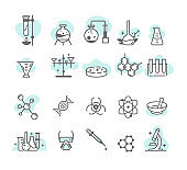 Chemical research vector linear icon set.Scientific laboratory test analysis pack.Chemistry biotechnology design.Molecules.Formula microscope medical.Flask,reaction tube.Toxic radiation.Biology line.