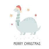 Christmas dino in scarf and Santa hat. Festive print, illustration
